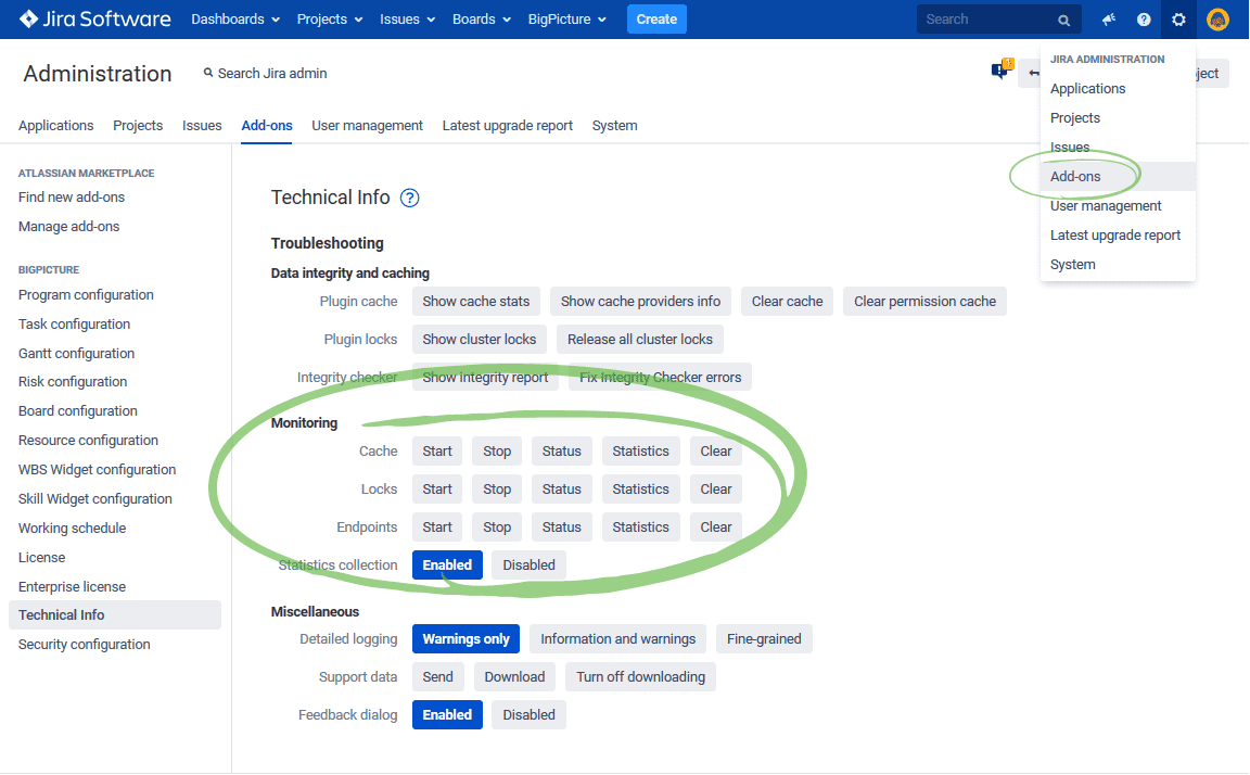 Jira Big Picture performance monitoring. Cache, locks, endpoints