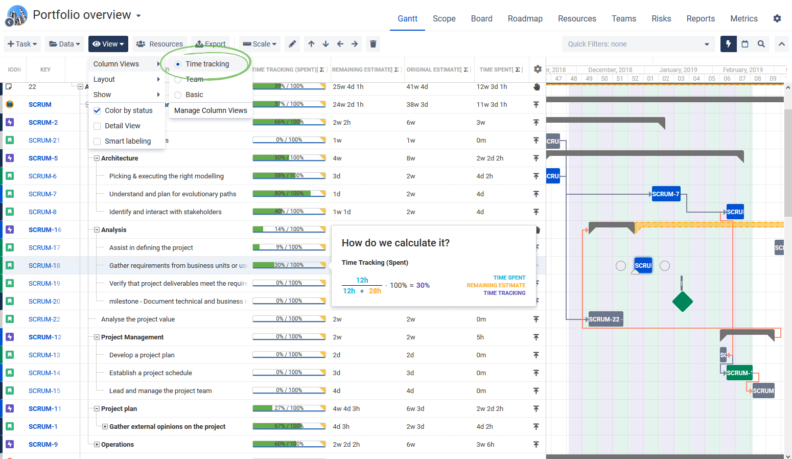 Time tracking in Jira BigPicture