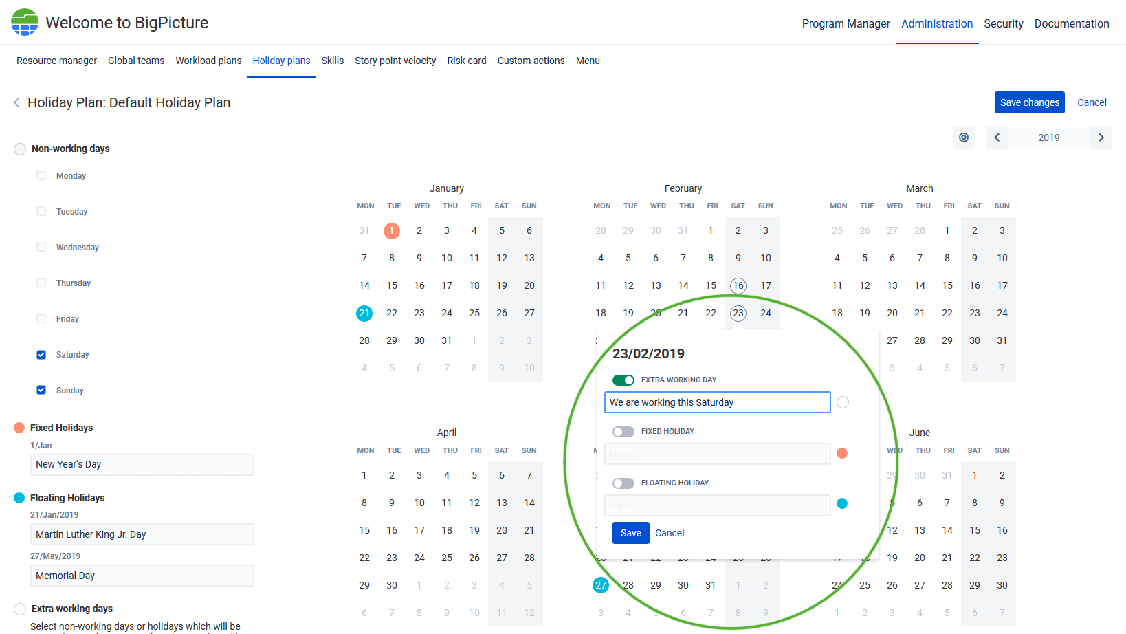 Holiday plans, extra working day, Jira Big Picture