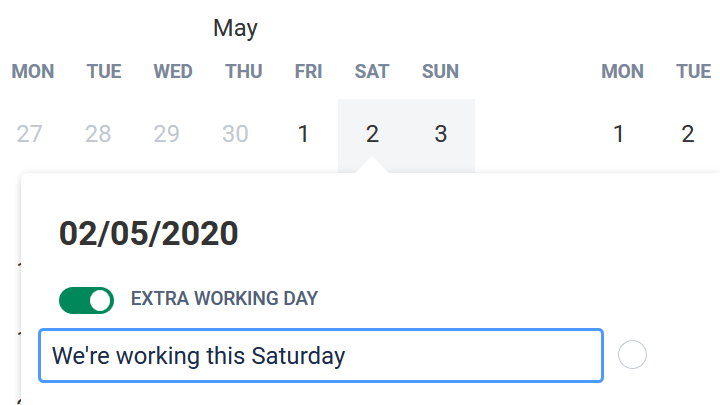 Extra working day Jira holiday plan