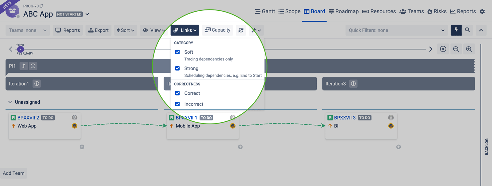 Dependency choices in Board 2.0 Jira BigPicture