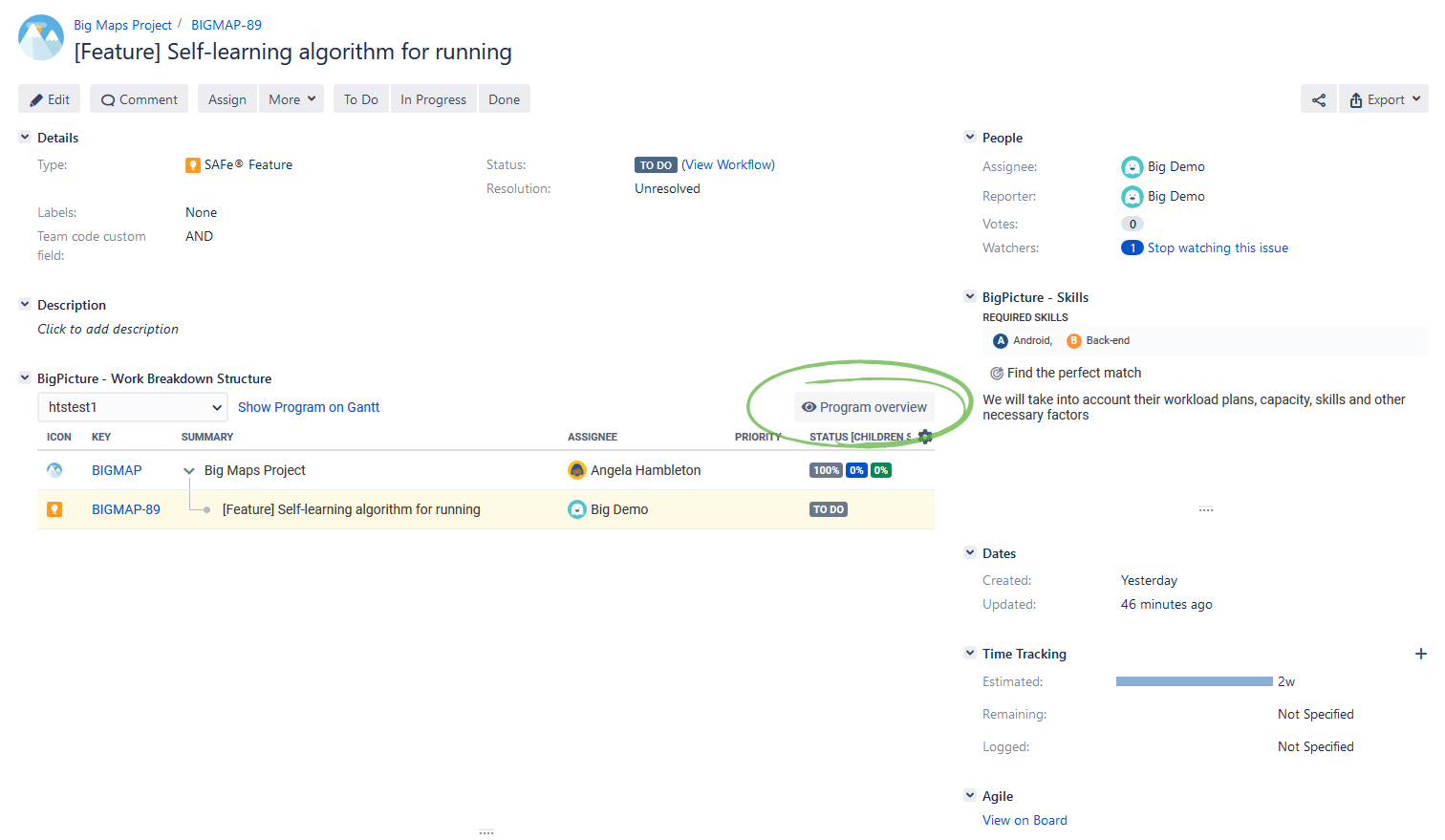 WBS in Jira issue detail view