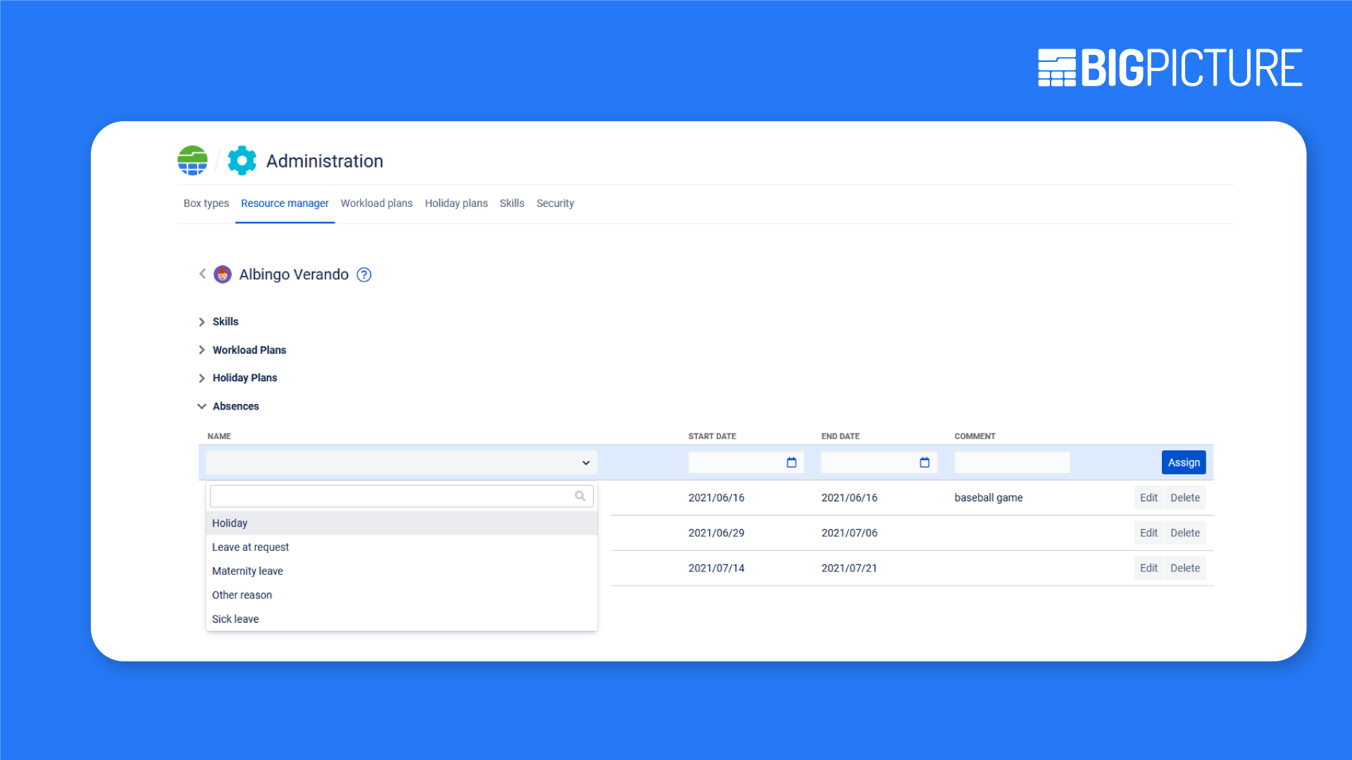 Absences in resource manager of Jira BigPicture